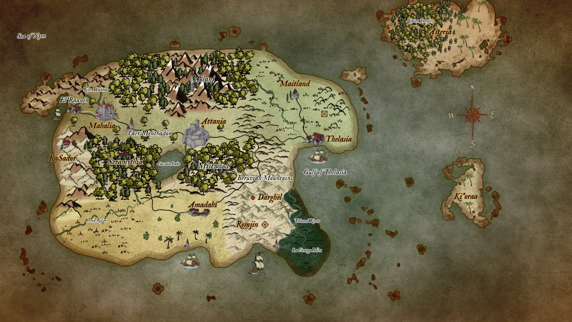 World Map of Visola, the world of Advent of the Mists MUD