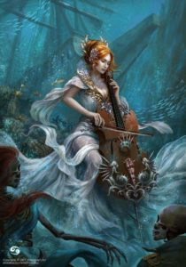 Picture of beautiful red-haired sea goddess named Anari playing music underwater