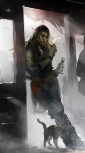 And orc smoking a pipe with a pet cat